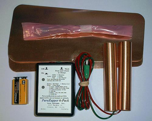 """ParaZapper 6PK, with copper paddles ( copper pipes ) and pads"""